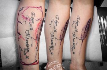 Freehand tetování  Úprava staršího tetování, přidání podkladu a napojení nadalší tetování