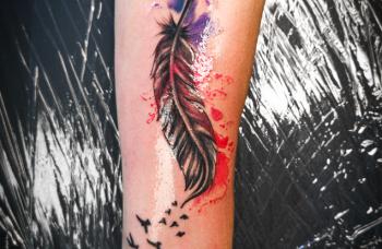 Oživení starého tetování + watercolor podklad